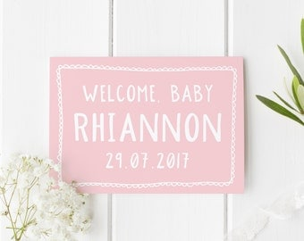 Personalised New Baby Card, New Baby Card, New Arrival Card, Welcome Baby Girl, Congratulations New Baby Girl, Card For New Baby, New Baby