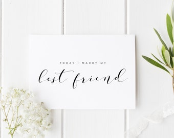 Today I Marry My Best Friend Card, I Can't Wait To Marry You Card, See You At The Altar Card, Card For Groom, Bride Wedding Day Card