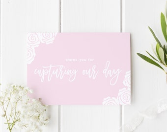 Thankyou Photographer Card, Capturing Our Day, Pretty Rose Wedding Card, Thank You For Capturing Our Day, Card For Wedding Photographer,