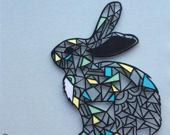 Geometric Rabbit Papercut - Framed