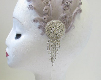 Grey & Silver Rhinestone Feather Headpiece Vintage 1920s Headband Flapper U41