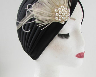 Black & Ivory White Pearl Feather Turban Headpiece 1920s Vintage Turban Deco W90