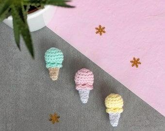 Crochet ice cream brooch, Crochet brooch, Cute brooch food, Icecream brooch, Ice cream cone, Amigurumi food jewelry, Crochet food jewlery