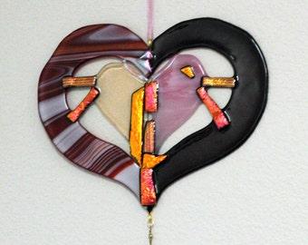 Fused Glass Heart Suncatcher-Abstract Heart Suncatchers-Heart Suncatchers