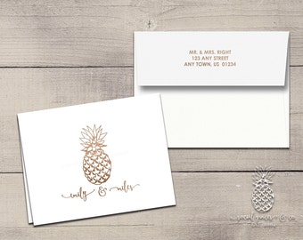 Letterpress Foil Thank You Cards & Envelopes - Pineapple Correspondence Cards - Custom Stationery Note Cards