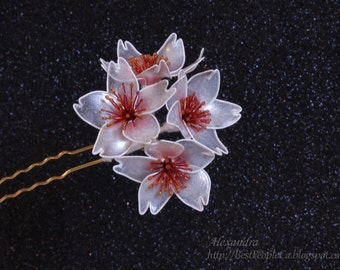 The Cherry Blossom Chinese Kanzashi Hair Stick Fork Wedding Hair Accessories White Sparkling Flowers Wire.
