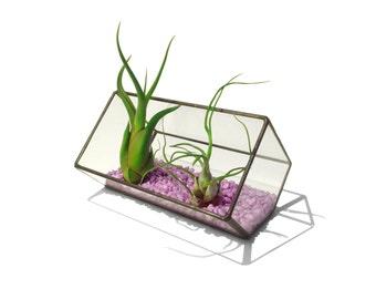 Stained Glass Terrarium Planter - 10cm Extended Cube - Cut-off Edge - Lavender Gravel