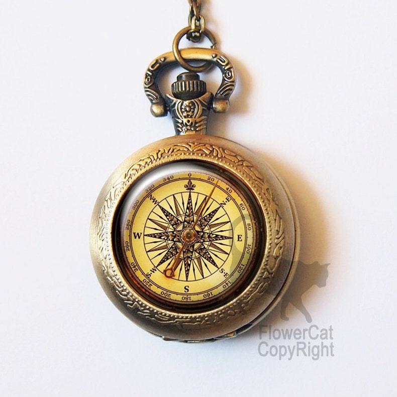 Vintage compass Pocket Watch Necklace antique compass retro