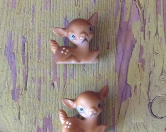 Two vintage tiny plastic fawns | laying down | miniature deer | Bambi |