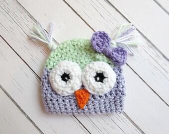 Newborn Owl Crochet Hat