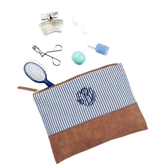 Four Makeup Bags, Navy Seersucker, Set of 4 Monogrammed Makeup Bags, Cosmetic Pouches, 4 Bridesmaids Gifts, Shower Gifts, Weddings