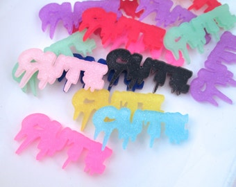 Assorted Glitter CUTE Word Cabochon Charms Laser Cut Acrylic #1140
