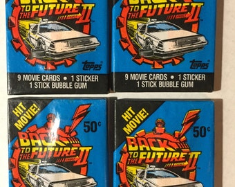 4 Vintage 1989 Topps Back to the Future 2 wax packs trading cards stickers