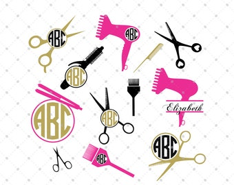 Hairdresser SVG Cut Files, Hairstylist SVG, cut files for Silhouette, cut files for Cricut, svg files, Monogram frames svg, svg files