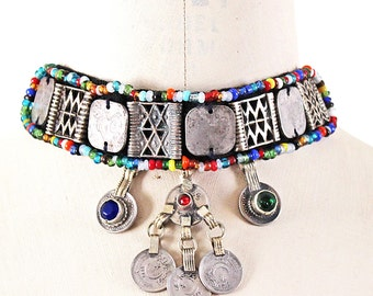 Vintage Bohemian, Hippie, Ethnic Choker Embellished with Tribal Charms