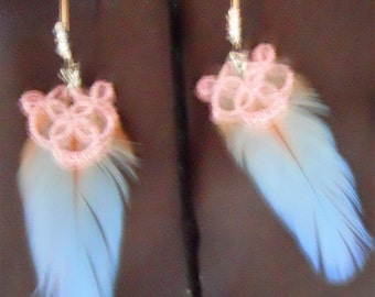 Sky Blue Parrot Feather Earrings with Pink Tatting and Silver & Rhinestone Ear Wires