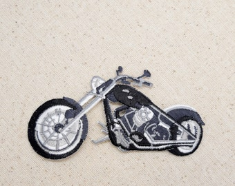 Black and Gray - Motorcycle Iron on Applique - Embroidered Patch - 650487-BL