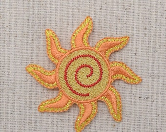 Yellow Sun - Spiral - Shimmery - Iron on Applique - Embroidered Patch - 154992-A