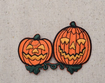 Halloween - Pumpkins - Two Jack O Lanterns - Iron on Applique - Embroidered Patch - 696529A