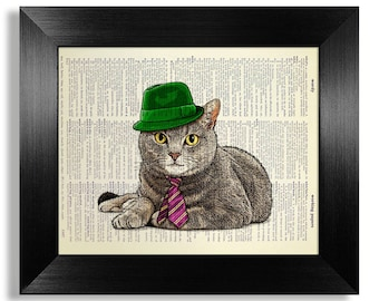 Grey CAT Art, British shorthair Cat PAINTING, Funny Cat Wall Art, Gentleman Cat Illustration, Green Hat CAT Drawing, Cute Cat Boyfriend Gift