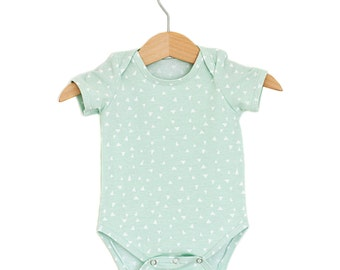 Mint Triangles Organic Cotton Short Sleeve Onesie