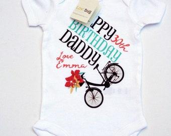 Happy Birthday Daddy, Customized Baby Bodysuit, Personalized Baby Girl Bodysuit, Bicycle Bodysuit, Happy Birthday from baby girl