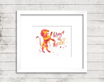 Gryffindor. Brave at Heart. Harry Potter. Instant Download. Watercolor. Calligraphy Print. Calligraphy Font. Home Decor. Wall Art.