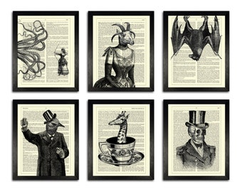 GIFT SET! Six Gothic Themed Art Prints, 8 x 10 Wall Art, Bedroom Decor Set, Dark Home Decor Wall Art, Black & White Prints, College Decor