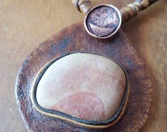 brown leather pendant necklace etched copper handmade moon jewelry stone wonderstone found object