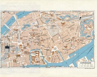 1965 Copenhagen Denmark Vintage Map