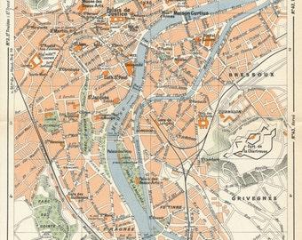 1950 Liege Belgium Vintage Map