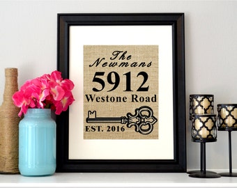 New Home Sign - Personalized Burlap Housewarming Gift