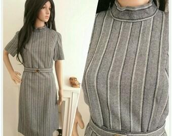 Vintage 60s Smart Navy Wool Stripe Belted Shift Dress Mod / UK 14 / EU 42 / US 10