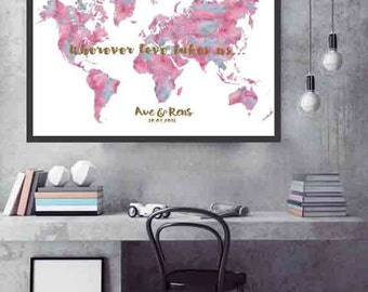 Wedding Guest book Print World Map wedding guest book
