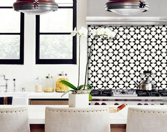 Tile Decals - Tiles for Kitchen/Bathroom Back splash - Floor decals - Moroccan Agadir Vinyl Tile Sticker Pack color Black