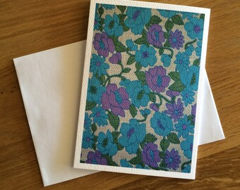 Vintage Fabric Print Greeting Card, Blank, Blue Floral Vintage Fabric Print