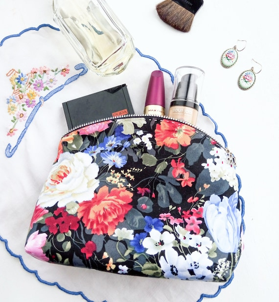 Floral Cosmetic Make Up Bag, Makeup Bag, Cosmetic Zipper Pouch, Travel Makeup Pouch, Cosmetic Case