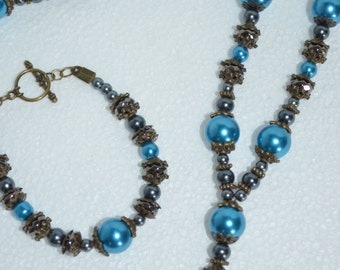 Necklace Bracelet Set Lariat Style Necklace Accented ith Bronze with Teal and Black Pearl and Gunmetal Faceted beads