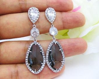 Dark Grey Bridal Earrings Charcoal Black Diamond Earrings Cubic Zirconia Teardrop Earrings Bridesmaid Gift Earrings (E011)