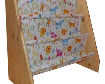 Kids wooden book sling bookcase with zoo print fabric
