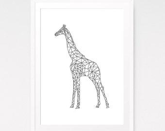 Geometric animal print, Origami wall art, Origami animal, Giraffe print, Giraffe art, Minimalist poster, Nursery animal art, Kids room decor
