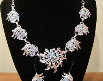 Vintage Aurora Borealis Demi Necklace and Earrings Set
