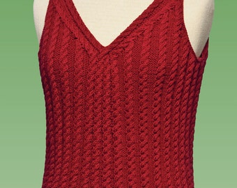 Cable Tank Top #177 PDF knitting PATTERN ONLY