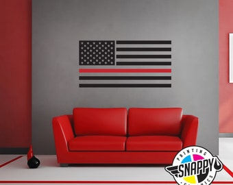 Horizontal Wall Decor thin red line firefighter axe flag wall decal display