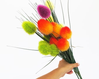 4 Artificial Sedges Pennisetum Liatris Branches Artificial Flowers Bouquet Branch Bouquets Bush Floral Accessory Faux Fake Fabric Colorful