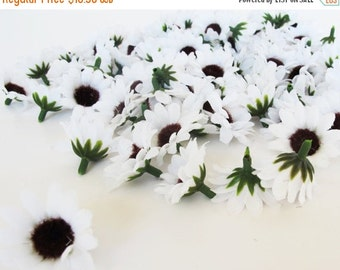 """ON SALE Lot of 60 Artificial Daisies Sunflowers Silk Flowers Little White With Black Center Measuring 1.5"""" Floral Hair Accessories Flower Su"""