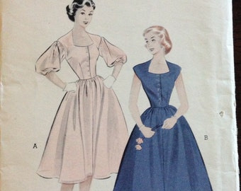 Butterick 6460 - 1950s Susie Stephens Button Front Dress with Shaped Neckline and Gibson Girl or Cropped Sleeves - Size 11 Bust 29