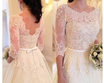 SALE! ...Custom Soft WHITE Vintage 50s Style Quarter Length Sleeve Lace Wedding Dress