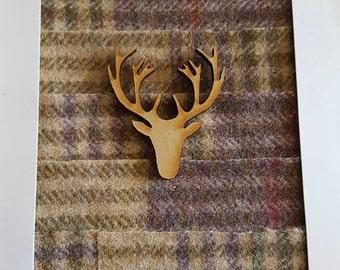 handmade tweed card with stag head