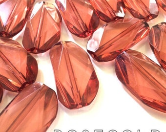 Large ROSE GOLD Gem Stone Beads - Acrylic Beads that look like stained glass for Jewelry Making-Necklaces, Bracelets, or Earrings! 45x25mm S